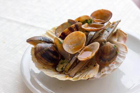 entrees: Seafood entrees Stock Photo