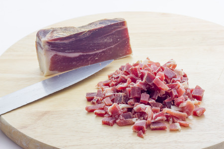 cubed: Raw diced bacon Stock Photo