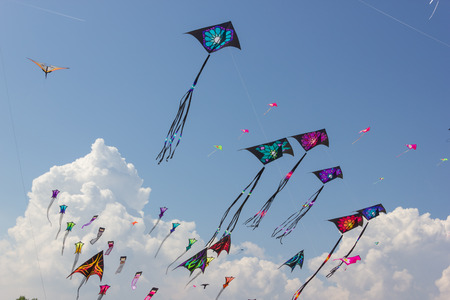 strings: Beautiful kites in a kite festival Stock Photo