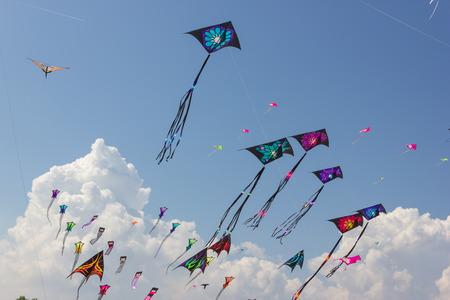 papalote: Hermosas cometas en un festival de cometas Foto de archivo