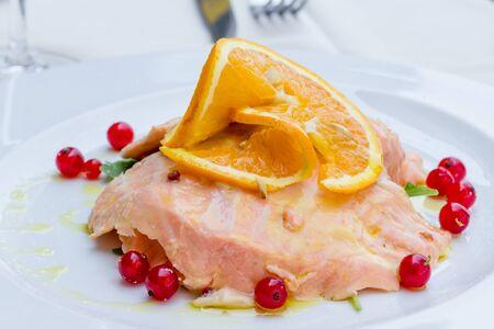 marinated: Salmon marinated into orange