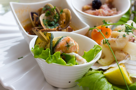 entrees: Seafood entrees Stock Photo