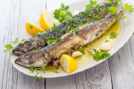 baked: Mackerel baked Stock Photo