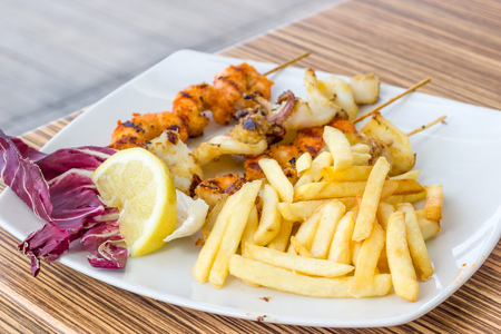 cuttlefish: Grilled cuttlefish with fries