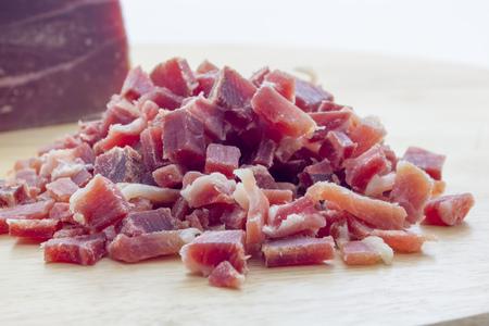diced: Raw diced bacon Stock Photo