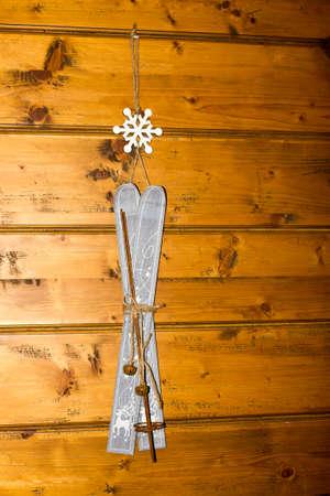 ski lodge: Decoration ski mountain Stock Photo