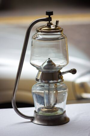 oil lamp: vintage oil lamp at a flea market Stock Photo