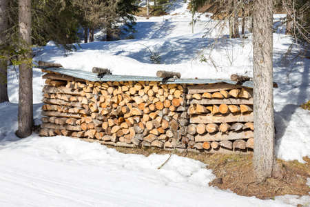 stack of firewood: Stack of firewood Stock Photo