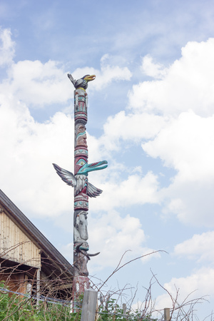 northwest indian art: Wooden totems Stock Photo