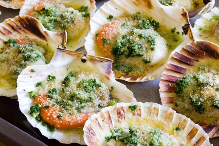 Raw  scallops au gratin Stock Photo