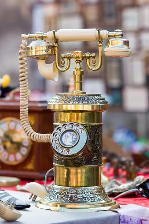Vintage telephone in a flea market
