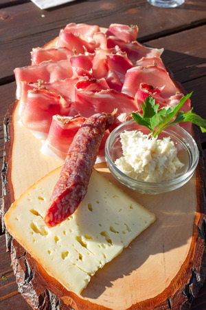 Speck salami and cheese with horseradish sauce Stok Fotoğraf