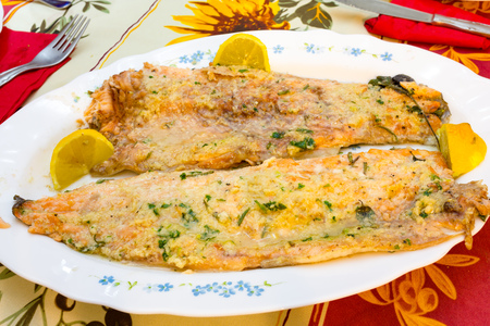 Salmon trout  cooked in the oven