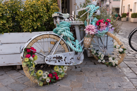 Bicycle decorated with flowers