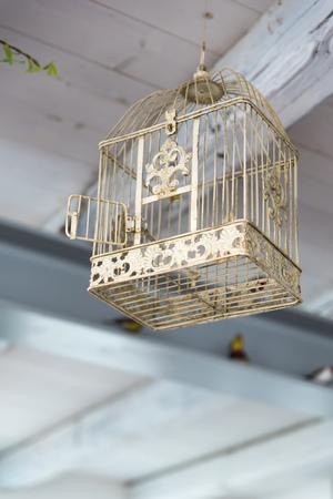 Empty birdcage with the door open