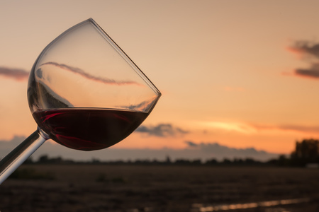 Wine at sunset