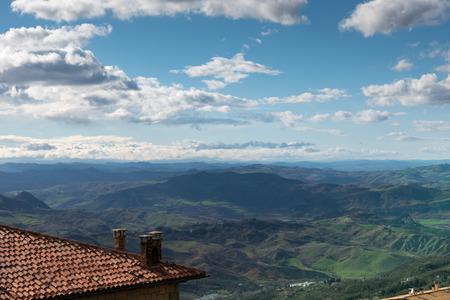 Panorama of the hills of San Marino Rimini Stock Photo - 104004272