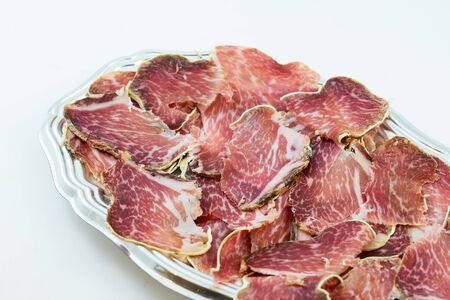 Italian salami called Coppa 스톡 콘텐츠