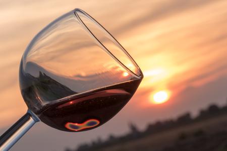 Toast at sunset closeup