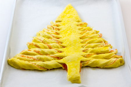 Salmon Focaccia shaped as xmas tree