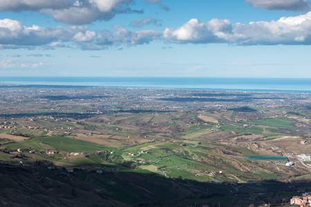 Panorama of the hills of San Marino Rimini