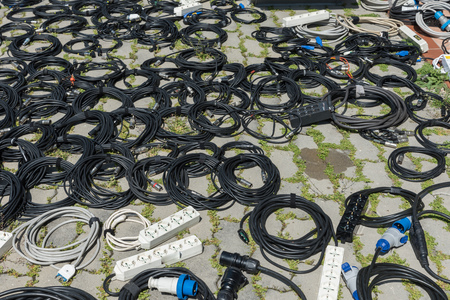 Stage equipment lying on the floor