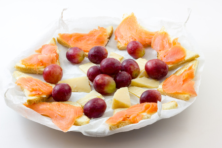 Salmon appetizer with grapes and cheese Stock fotó