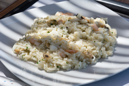 Risotto with seafood close up
