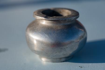 Pewter ashtray close up 스톡 콘텐츠