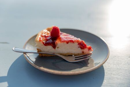 Slice of raspberry semifreddo cake Banco de Imagens