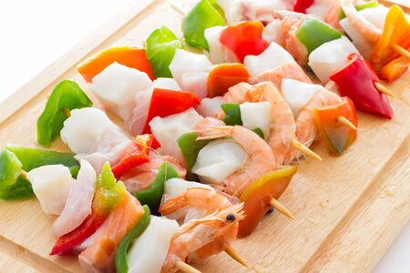 Fish and vegetable kebabs