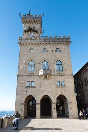 Roads and buildings of San Marino Rimini Stock Photo - 131644714