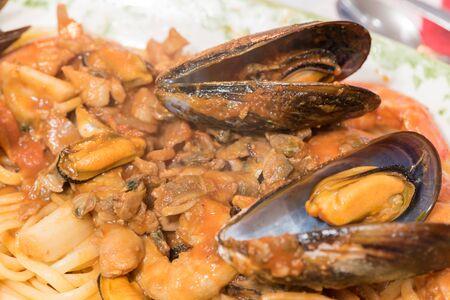Spaghetti with seafood Zdjęcie Seryjne