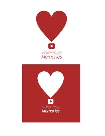 Two Valentines memories heart vector shape