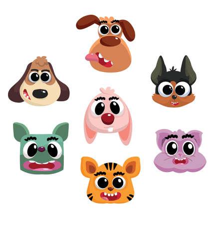 stile: animals heads in cartoon stile