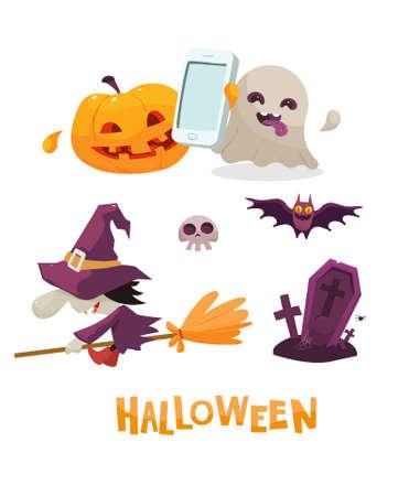 czarownica: Wektor clipart halloween zestaw z dyni i telefon komórkowy