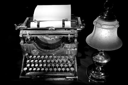 poems: old typewriter with lamp