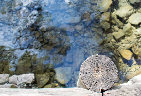 Wooden bridge over a lake of clear water on a sunny day