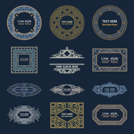 ornate border: Set Luxury Logos template flourishes calligraphic line