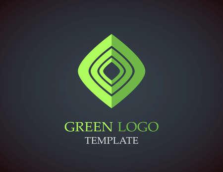 Eco green leaf logo template. Infinite shape. Green leaves loop. Illustration
