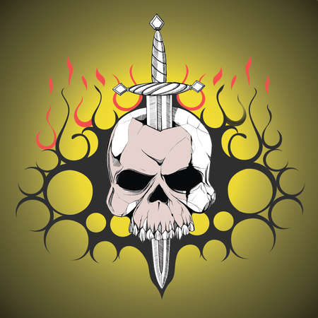 slain: Hand drawn skull slain by a sword. The symbol of the day of the dead