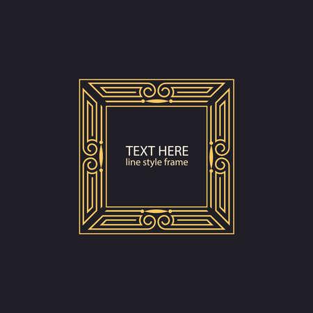 textbox: Vector geometric linear style frame - art deco text decoration.