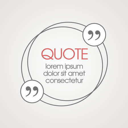 citation: Citation text box. Frame for decoration quote and other information. Quote blank template. Quote bubble. Empty template. Business card template, paper sheet, information, text Illustration