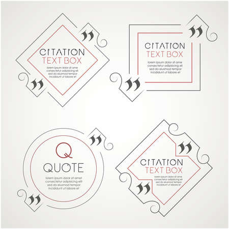 citation: Set of the citation text box. Frame for decoration quote. Illustration
