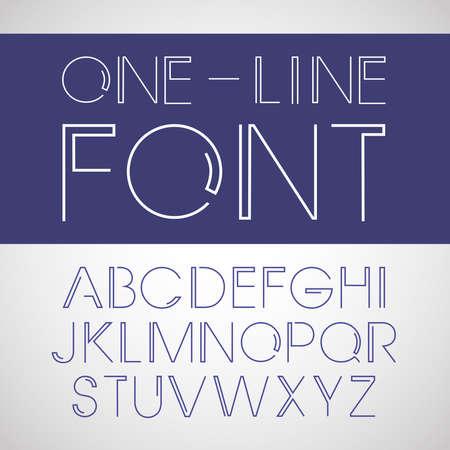 Vector linear font. Line style font Illustration