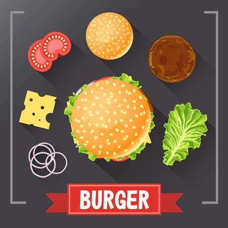 ingredientes de la hamburguesa. partes de una hamburguesa en la pizarra. Hamburguesa con ingredientes firmados. Establecer hamburguesa de comida. receta de hamburguesa original. .
