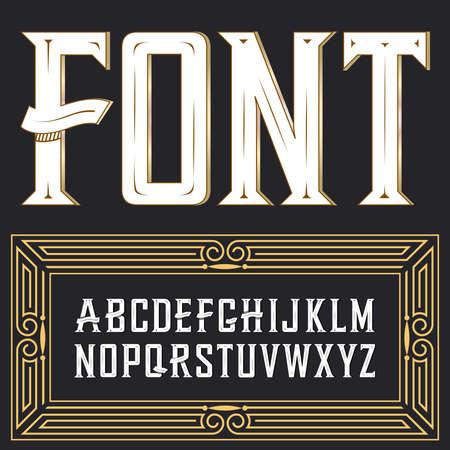 Vector label lettertype met art deco ornament