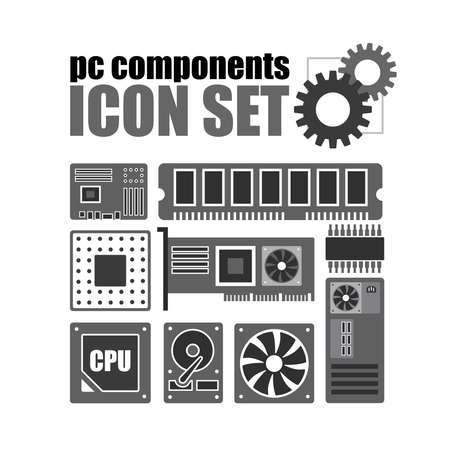 hard component: PC components icon set. PC service icon