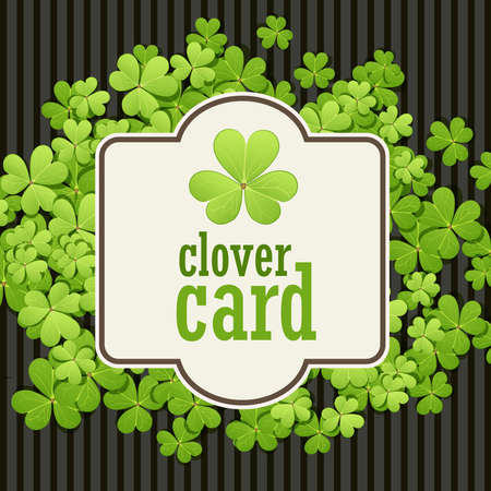 lucky clover: St Patricks Day background. Vector illustration for lucky spring design with shamrock. Green clover border and square frame. Ireland symbol pattern. Irish header for web