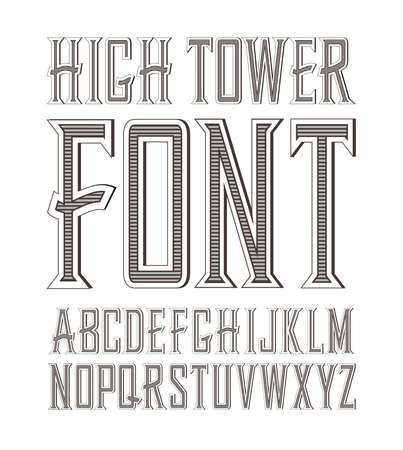 crafted: Vector handy crafted vintage label font. High tower